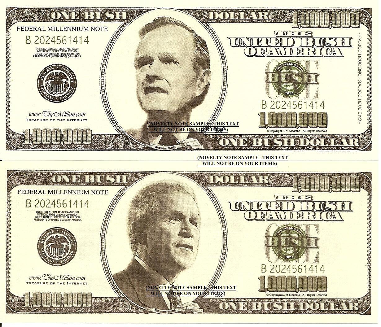 Presidents George W Bush Father And Son Dollar Bills X 2