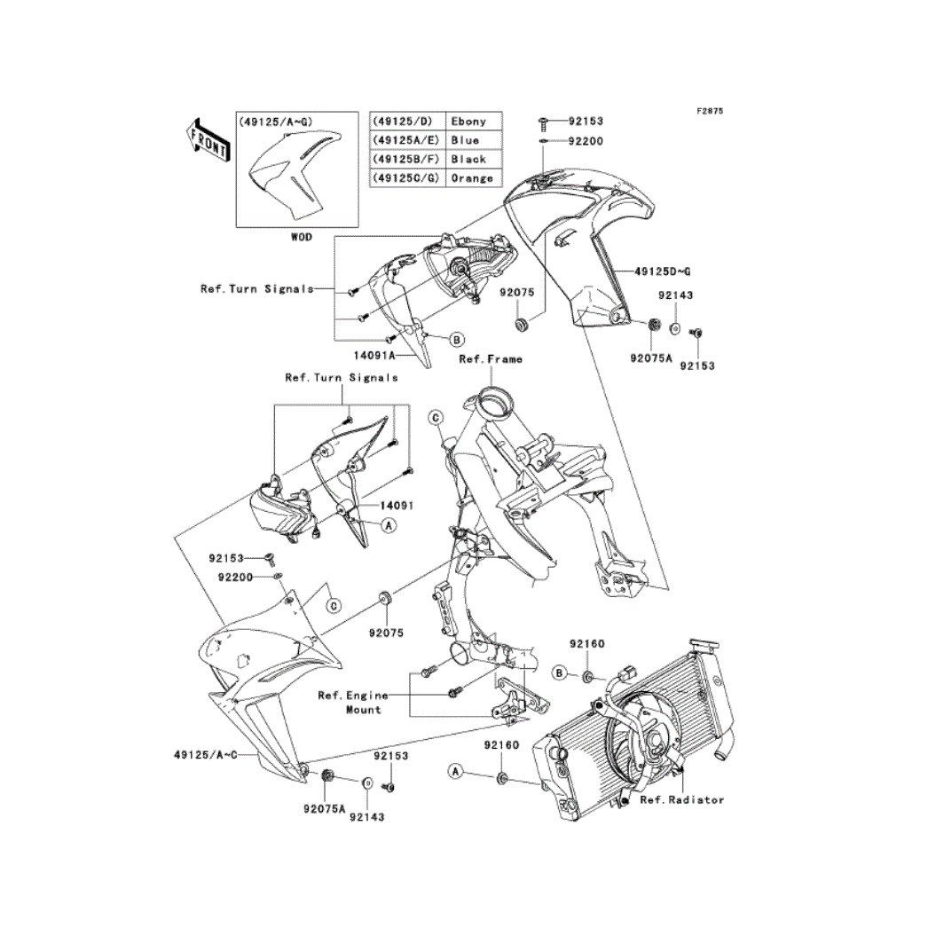 Kawasaki ER6n Genuine OEM Part 14091-1590 COVER, SHROUD