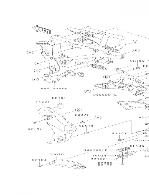 Kawasaki ER6n Ninja 650R OEM Right STAY STEP Genuine Part