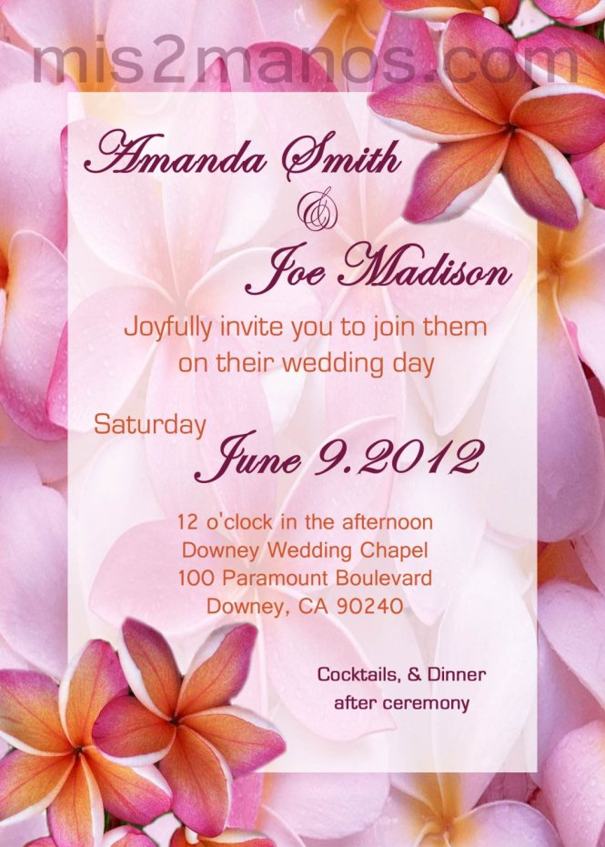 Hawaiian Wedding Invite Diy Custom Printable Invitations Pink