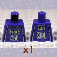 LEGO Violet Torso NBA Milwaukee Bucks #34 (single,N)