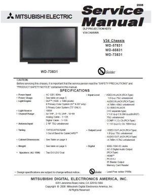 MITSUBISHI WD57831 WD65831 WD73831 TV SERVICE REPAIR MANUAL