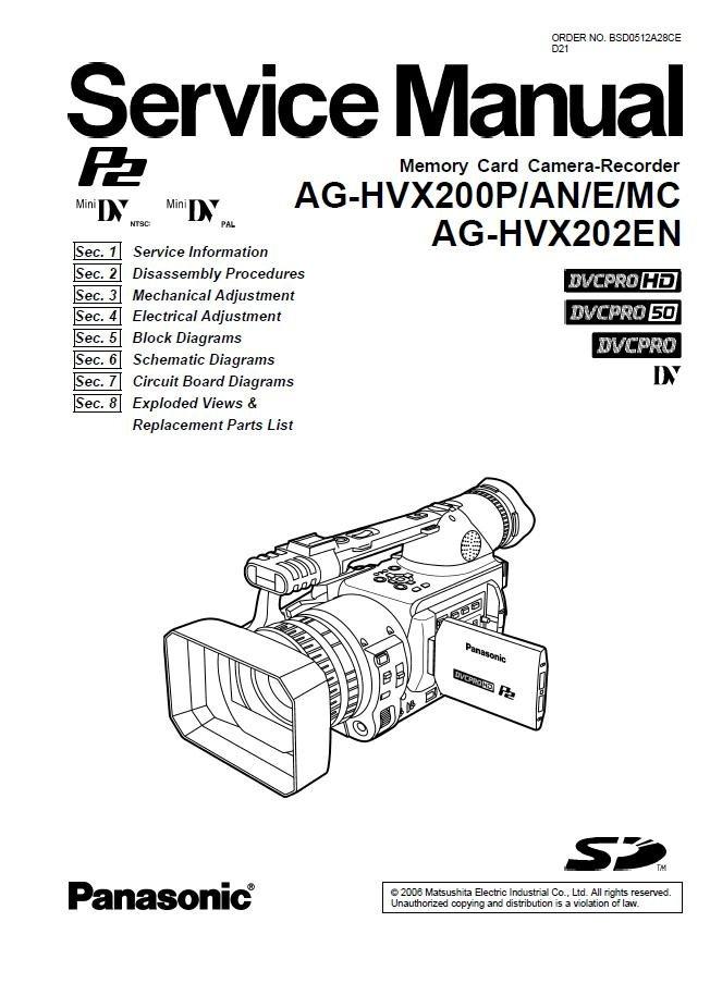 PANASONIC AG-HVX200P AG-HVX200AN AG-HVX200E AG-HVX200MC AG