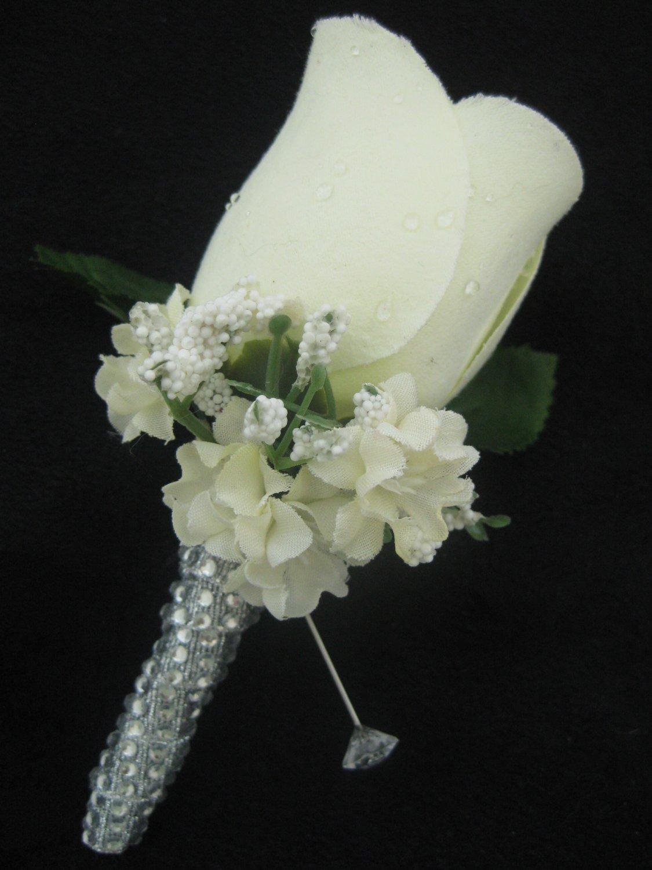 CREAM IVORY Wedding Groom Rose Bud Silk Flower Boutonniere Crystal Rhinestone Bling Stem