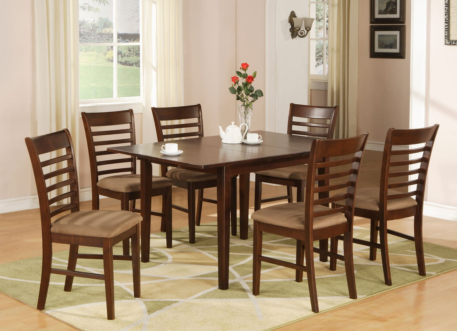 ladder back chair pro gaming chairs uk milan 7-pc rectangular dinette dining table set-36