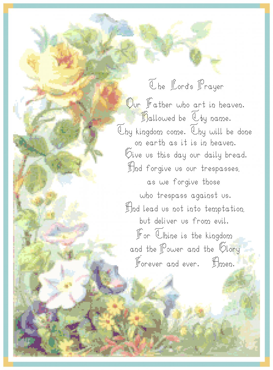 The Lord S Prayer Pattern Chart Graph