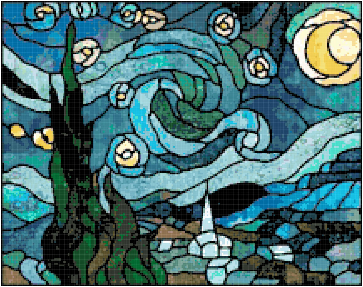 Van Gogh S Starry Night In Stained Glass Cross Stitch