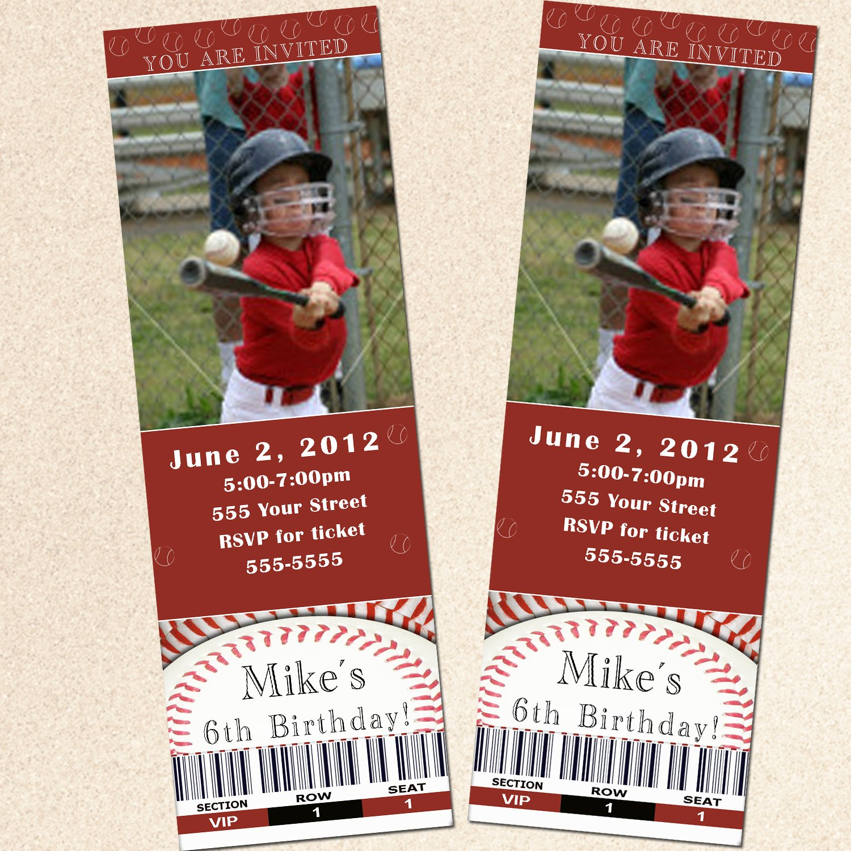 printable baseball sports photo birthday party ticket invitations boy baby shower birthday