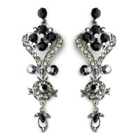 Black Onyx Crystal Chandelier Earrings for Prom, Mis