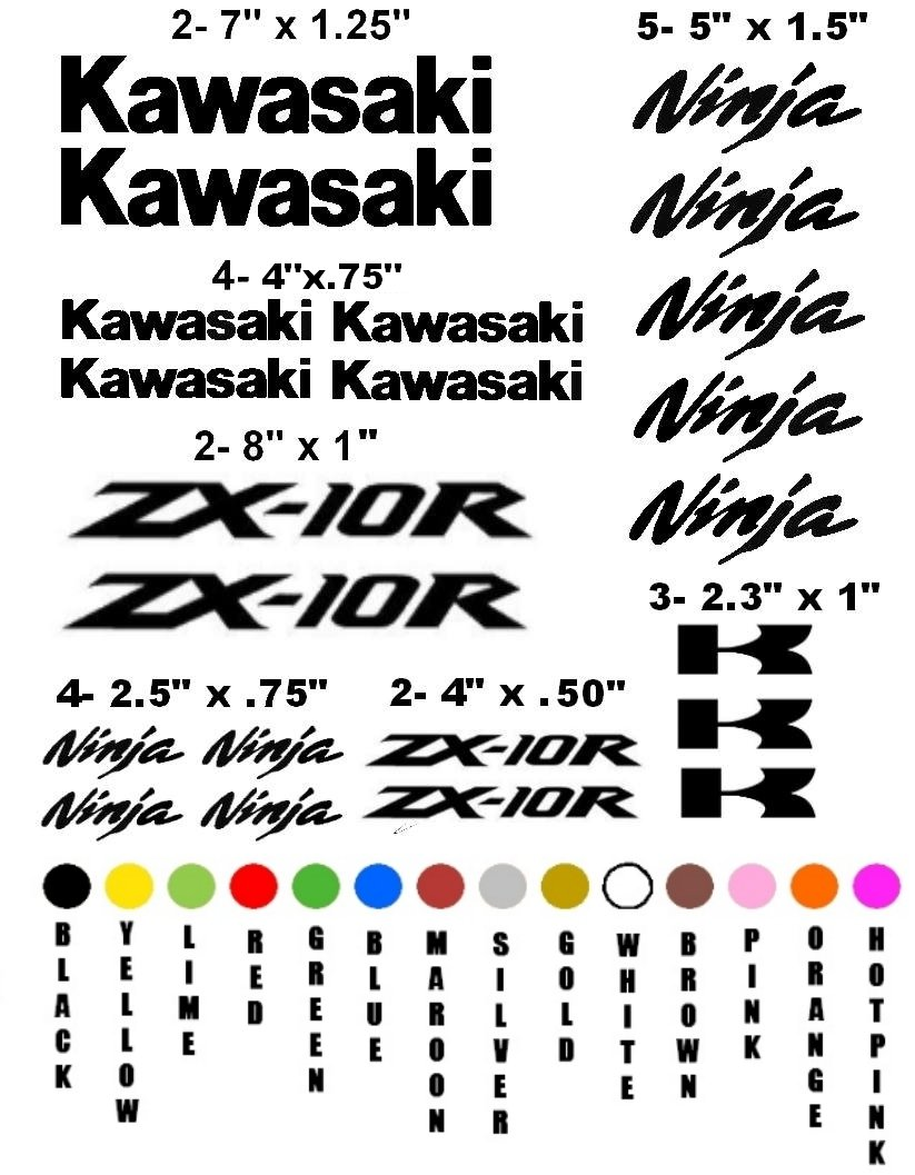 KAWASAKI ZX-10R CHOOSE YOUR COLOR VINYL DECALS STICKERS
