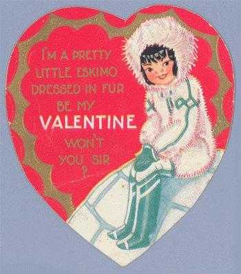 Vintage Valentine 1930s PRETTY LITTLE ESKIMO Igloo