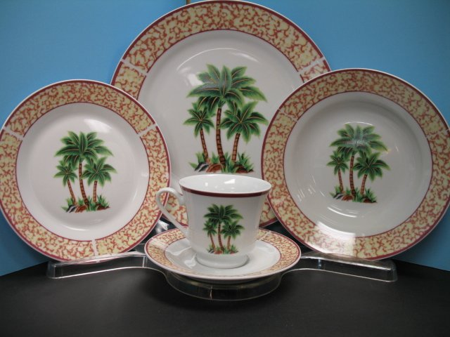 20 Pc PALM TREE Dinnerware plate dishesTROPICAL NEW Decor