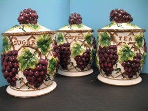 Pcs 3D GRAPE Canister Set Kitchen Decor VINEYARD WINE Home Storage