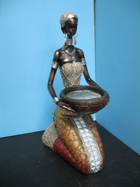 Black African Lady women figurine statue DECOR home bar