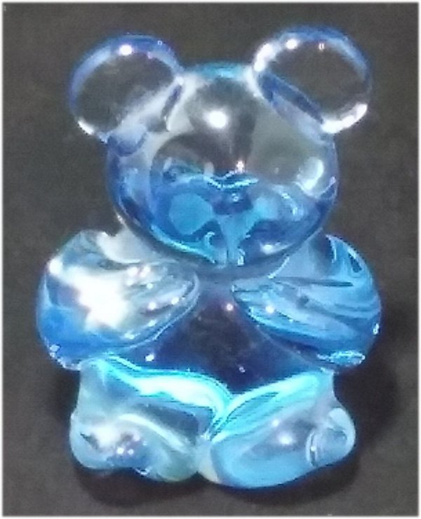 "Blue Crystal Glass Bear Figurine 3"" United States"