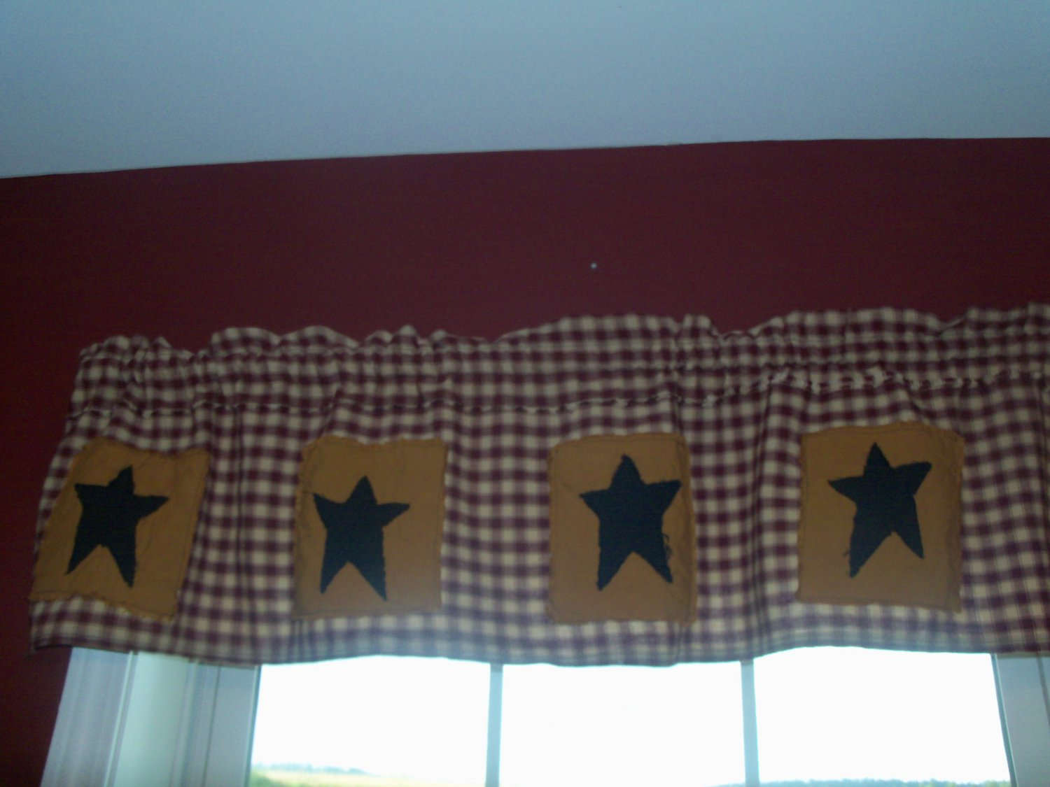 Country Primitive Star Valance Handmade
