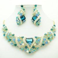 Cute Flower Necklace Earring Set Blue Rhinestone Crystal ...