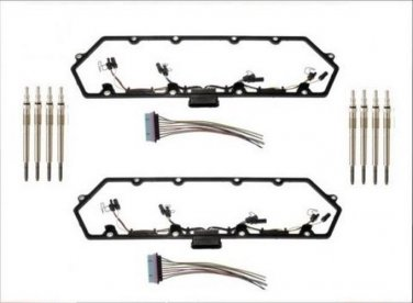 2 VALVE COVER GASKETS WITH WIRING 8 GLOW PLUGS 7.3 7.3l