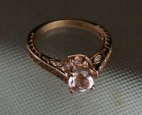 14K Rose Gold Vintage Peach Morganite and Diamond ...