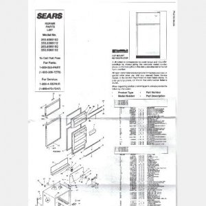 SEARS REFRIGERATOR Parts List Owners Guide 253.9366182 253