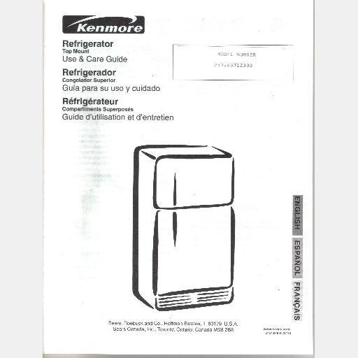 SEARS KENMORE REFRIGERATOR model 253.63712300 Parts List