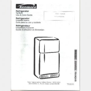 SEARS KENMORE REFRIGERATOR Repair Parts List model 106