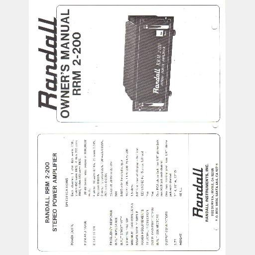 RANDALL INSTRUMENTS INC Owners Manual Schematic RRM 2 200