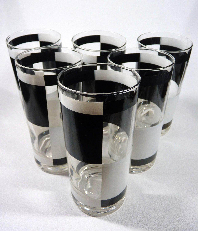 Vintage Black White Checked Drinking Glasses