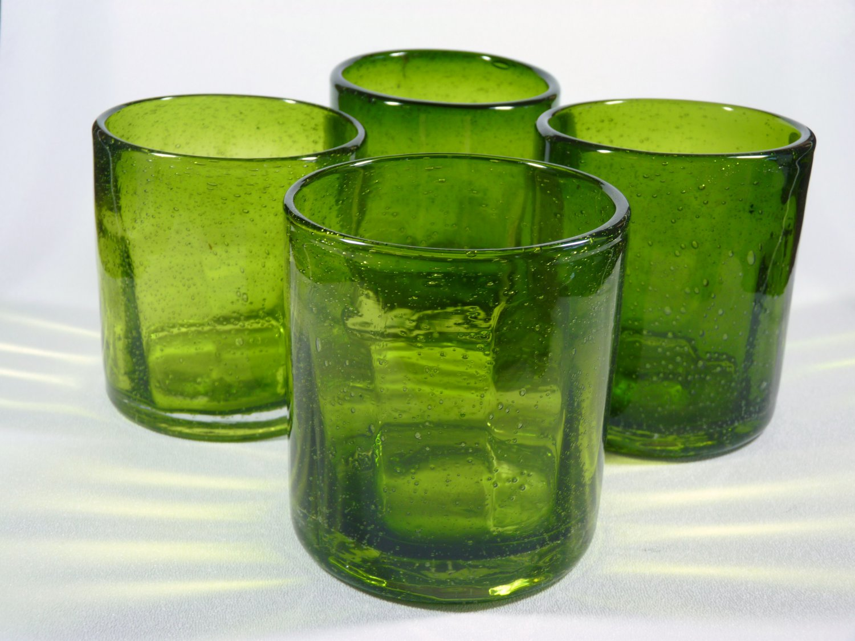 Hand Blown Glass Green Tumblers