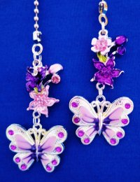 Butterfly Flower Nature Ceiling Fan Light Pull Chain Set T