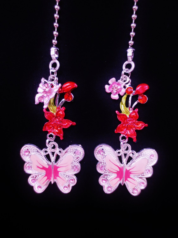 Butterfly Flower Nature Ceiling Fan Light Pull Chain Set S