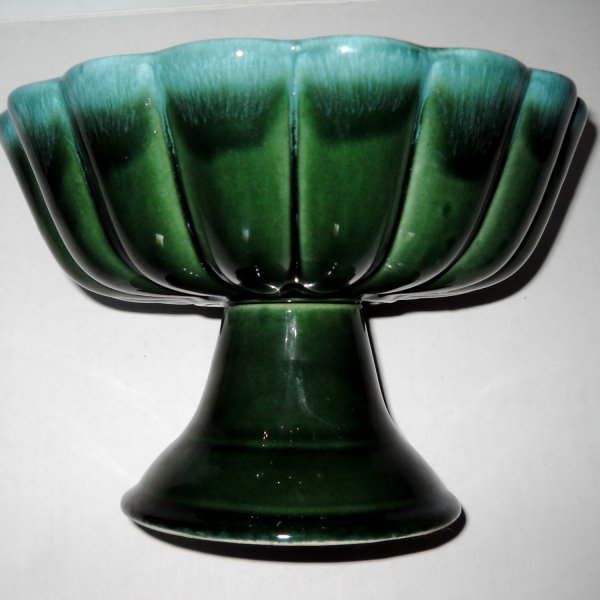 Hull Usa Art Pottery Green Agate Pedestal Bowl