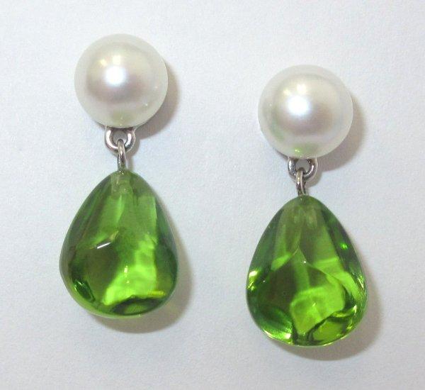 Tiffany & . 18k White Gold Peridot Pearl Earrings