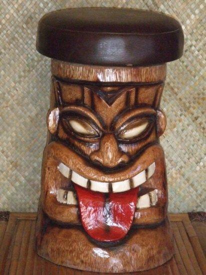 Tiki Bar Stool 2302 Brown Seat