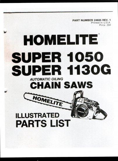 Chain Saw Parts List Homelite Super 1050, Super 1130G