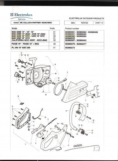Chain Saw Parts List McCulloch Mac Partner-Ranchero