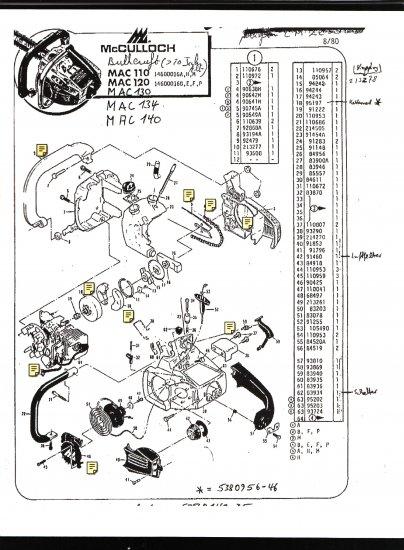 stihl ms250 chainsaw parts diagram cat5 phone line wiring australia chain saw list mc culloch , mac 110, 120, 130, 134, 140