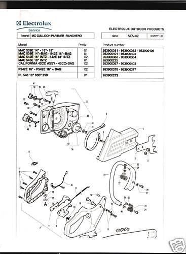 539E,542E,545E,Calf42CC, McCulloch Chain Saw Parts List