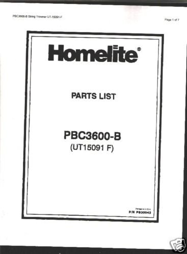 Homelite String Trimmer PBC3600-B Parts List