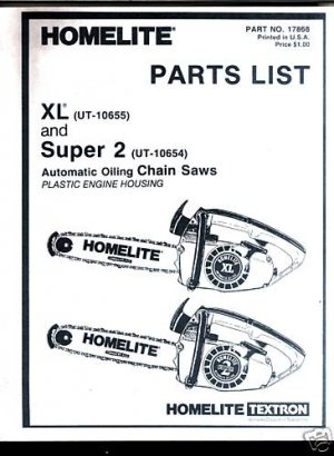 XL & Super 2,, Homelite Chain Saw Parts List