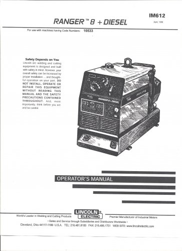 Lincoln Electric RANGER 8 + DIESL Operators Manual( Copy)
