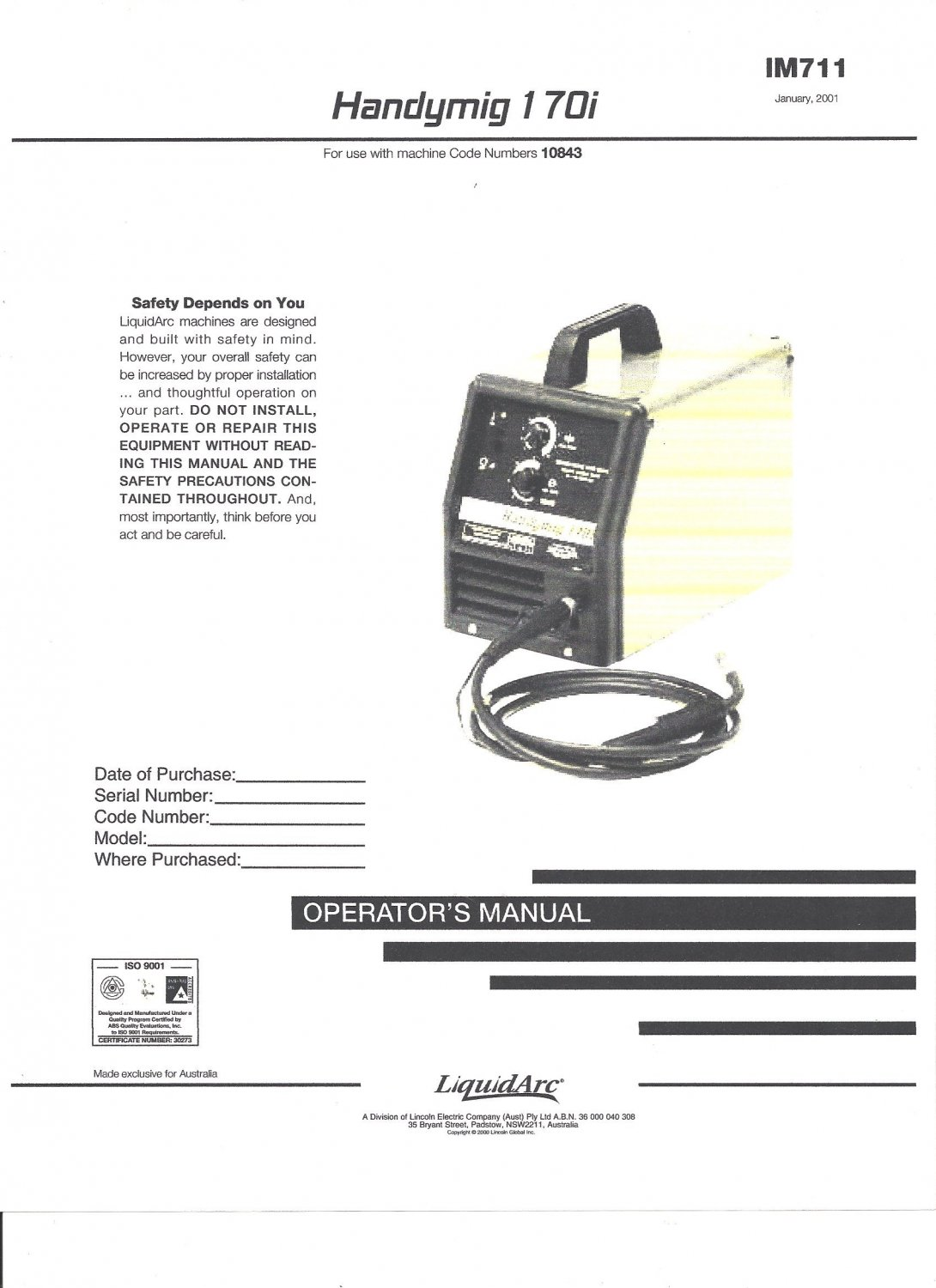 Lincoln Electric HANDYMIG 170i Operators Manual ( Copy)