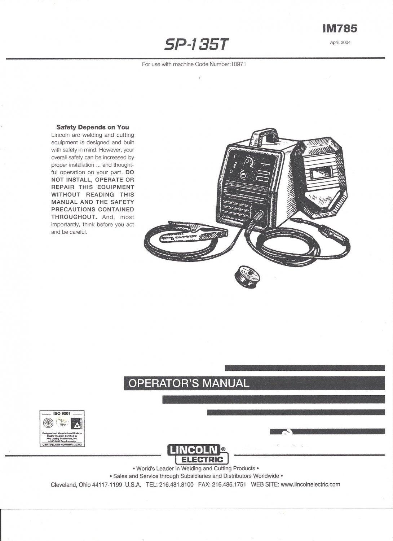 Lincoln Electric SP-135T Welder Operators Manual ( Copy)