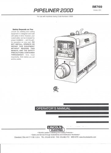 Lincoln Electric PIPELINER 2000 Welder Operater Manual ( Copy)