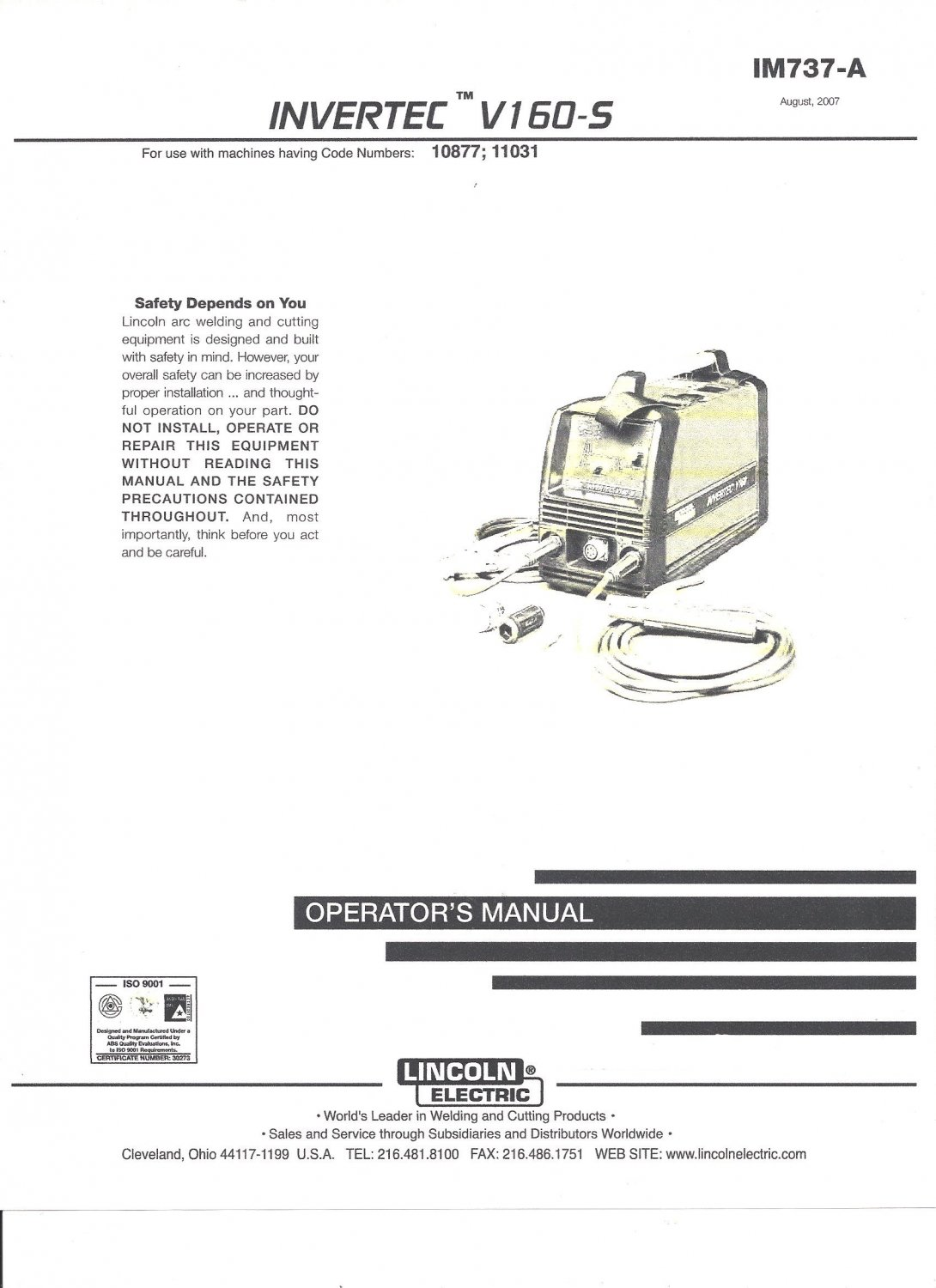 Lincoln Electric INVERTEC V160-S Welder Operator's Manual