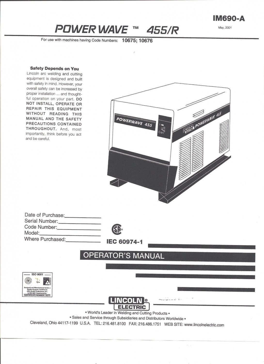 Lincoln Electric POWER WAVE 455/R Welder Operator's Manual