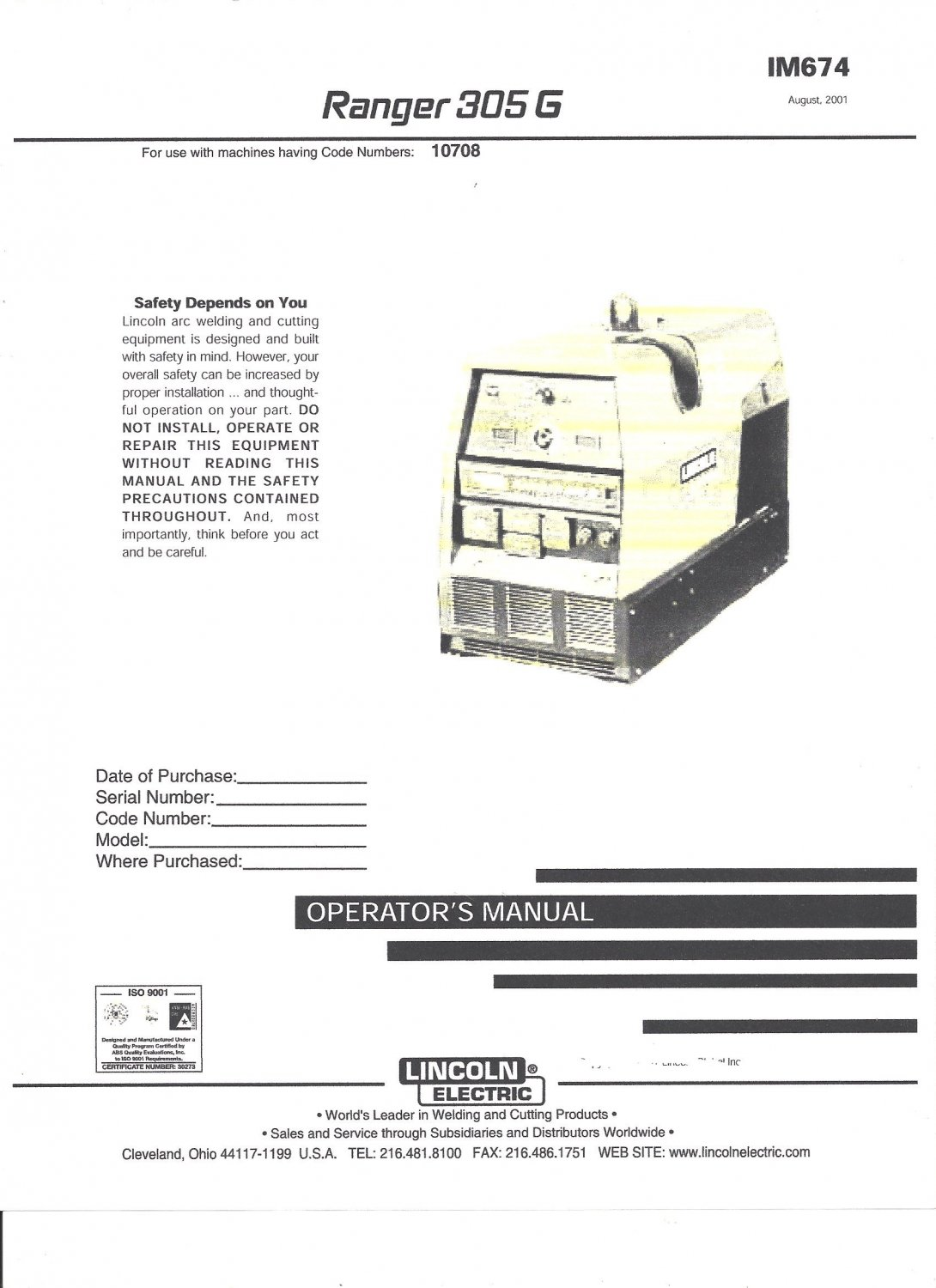 Lincoln Electric RANGER 305 G Welder Operator's Manual ( Copy)