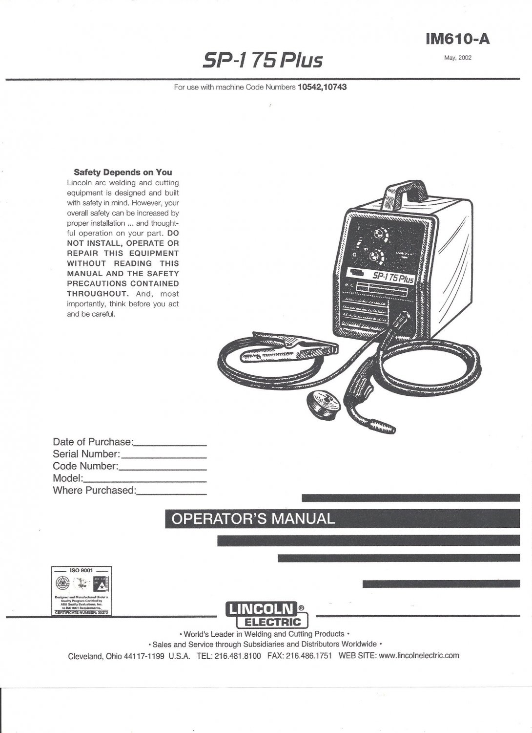 Lincoln Electric SP-175 PLUS Welder Operator's Manual ( Copy)