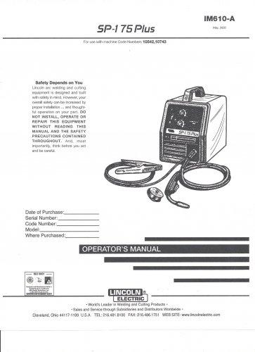 Lincoln Electric SP-175 PLUS Welder Operator's Manual ( Copy)