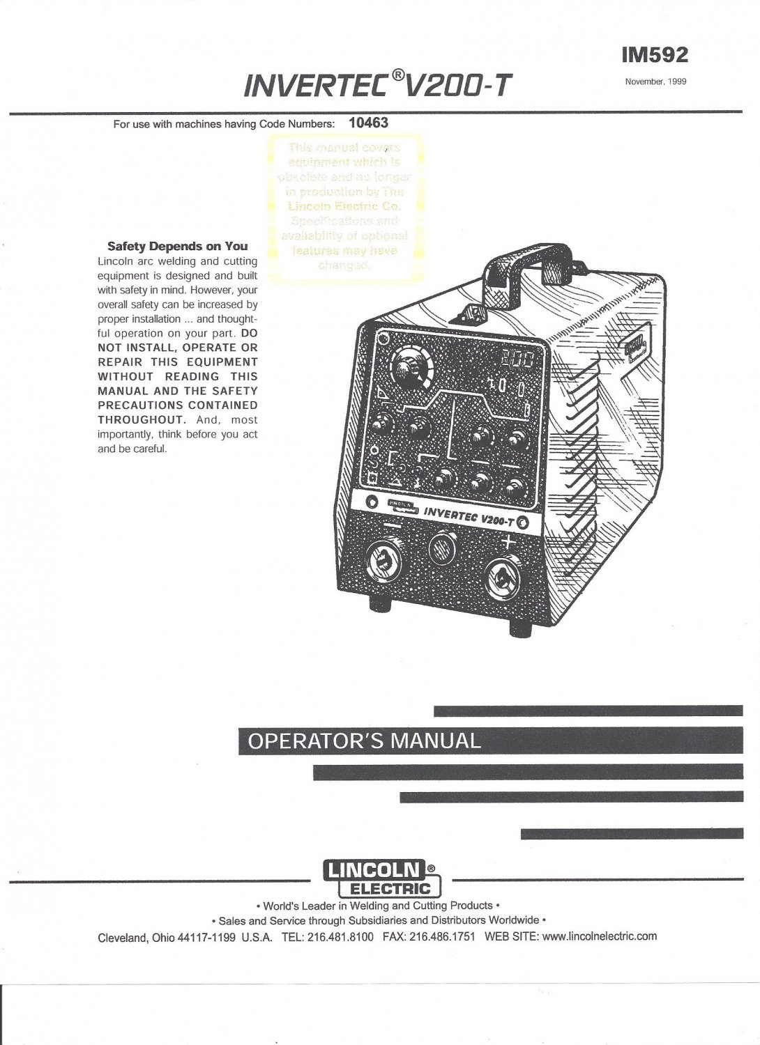 Lincoln Electric INVERTEC V200-T Welder Operator's Manual